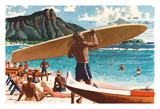 Waikiki Beach  Hawaii - Hawaiian Surfer in front of Diamond Head Crater