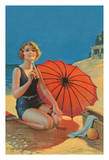 Inviting - Art Deco Glamour Girl - Beautiful Redhead drinking a Cola on the Beach
