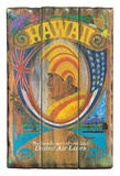 Hawaii - United Air Lines - Wood Panel Sign with Hawaiian Chief (Ali'i)