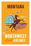 Montana - Fly Northwest Orient Airlines - Cowboy on Horseback