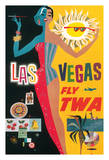Las Vegas  Nevada - Trans World Airlines Fly TWA  1958