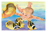 Talk to the Fish - Hawaiian Baby (Keiki) Swims with Racoon Butterfly (Kikakapu Kapuhili) Fishes