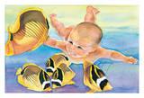 Talk to the Fish - Hawaiian Baby (Keiki) Swims with Racoon Butterfly (Kikakapu Kapuhili) Fishes