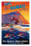 Fly To Hawaii by Clipper - Pan American World Airways - Surfer and Flying Fish