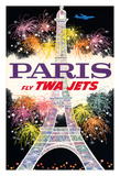 Paris  France - Trans World Airlines Fly TWA Jets - Fireworks at Eiffel Tower
