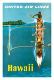 Hawaii - United Air Lines - Outrigger Canoe Surfing