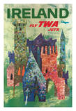 Ireland - Fly TWA Jets - Trans World Airlines - Boeing 707 over Irish Colorful Castles