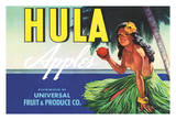 Hula Brand Apples - Topless Hawaiian Girl holding Apple - Universal Fruit and Produce Co
