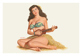 Hawaiian Pin Up Girl Playing the Ukulele - From Esquire Calendar July 1951