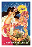 Hawaii - United Air Lines - Hawaiian Girl with Leis