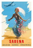 Belgien Kongo Sudafrika (Belgium Congo South Africa) - Sabena Airlines - African Tribal Dancer