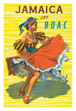 Jamaica - British Overseas Airline Corporation Jet BOAC - Native Dancer in Traditional Skirt