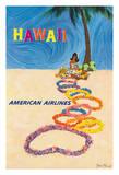 Hawaii - American Airlines - Native Hawaiian Girl Making Leis