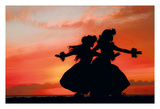 Hula Sisters - Young Hawaiian Dancers at Sunset