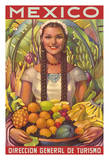 Mexico - Senorita with Fruit Bowl - Direccion General de Turismo (Department of Tourism)