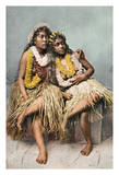 Hawaiian Beauties - Two Native Hawaiian Girls in Grass Skirts and Flower Leis
