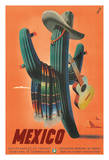 Mexico - Senor Cactus wearing a Sombrero  Serape  and Guitar - Departamento De Turismo