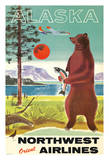 Alaska - Northwest Orient Airlines - Kodiak Alaskan Brown Grizzly Bear