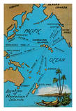 Location of the Hawaiian Islands Map - Island Curio Co of Honolulu Postcard