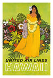 Hawaii - Hawaiian Woman with Flower Lei Greeting - United Air Lines