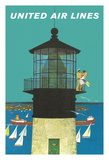 Lighthouse and Sailboats - United Air Lines