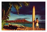 Surfer  Outrigger Canoe and Diamond Head Crater - Honolulu  Hawai'i