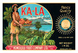Ka-La The Sun Brand - Topless Hawaiian Girl holds Basket of Fruit