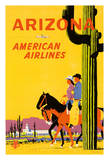 Arizona - American Airlines - Riders on Horseback - Saguaro Cactus  State Flower of Arizona