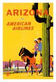 Arizona - American Airlines - Riders on Horseback - Saguaro Cactus, State Flower of Arizona Giclée par Fred Ludekens