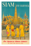 Thailand by Clipper - Pan American World Airways - Monks at Wat Phra Kaeo  Temple of Emerald Buddha