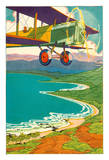 Bi-Plane Over The Hawaii Coastline - Book Illustration from Kimo by Alice Cooper Bailey Illustrated