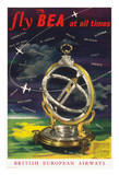 Fly BEA at All Times - British European Airways - Universal Ring Dial - World Route Map