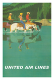 Rocky Mountains - United Air Lines - Horseback Riders