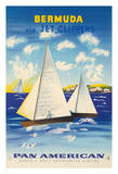 Bermuda via Jet Clippers - Fly Pan American Airlines (PAA) - Sailboats in Somers Isles
