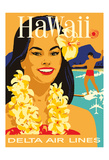 Hawaii - Delta Air Lines - Hawaiian Island Girl wearing a Flower Lei and a Surfer