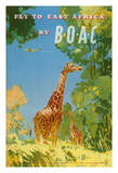 Fly to East Africa by BOAC - British Overseas Airways Corporation - Giraffes