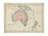 Map of Australia Reproduction d'art par Sidney Hall