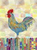 Rooster on a Fence II Reproduction d'art par Ingrid Blixt