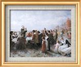 Le premier Thanksgiving Art texturé encadré par Jean Leon Gerome Ferris