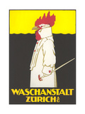 Poster for Zurich Laundry Service with Rooster