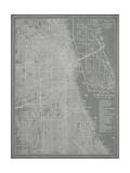 City Map of Chicago Reproduction d'art par Vision Studio
