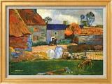 Farm at Pouldu Art texturé encadré par Paul Gauguin