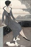 Art Deco Lady with Dog Reproduction d'art par Megan Meagher