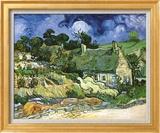 Thatched Cottages at Cordeville Art texturé encadré par Vincent Van Gogh