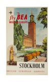 Fly Bea When in Europe  Stockholm Travel Poster