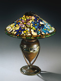 Tiffany Studios 'Clematis' Leaded Glass and Bronze Table Lamp