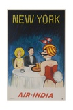 Air India Travel Poster  New York Playboy Bunny