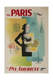 To Paris Via Pan American  the World's Most Experienced Airline Travel Poster