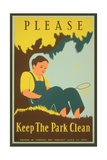Please Keep the Park Clean  Boy with Net