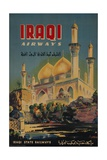 Iraqi Airways Travel Poster, Middle Eastern Mosque Giclée